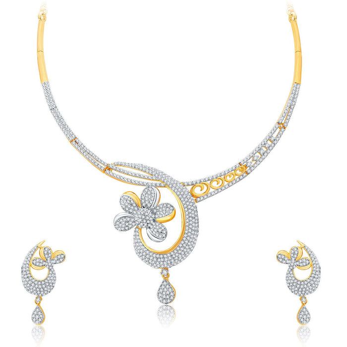 Pissara Enchanting Gold And Rhodium Plated CZ Neklace Set For Women