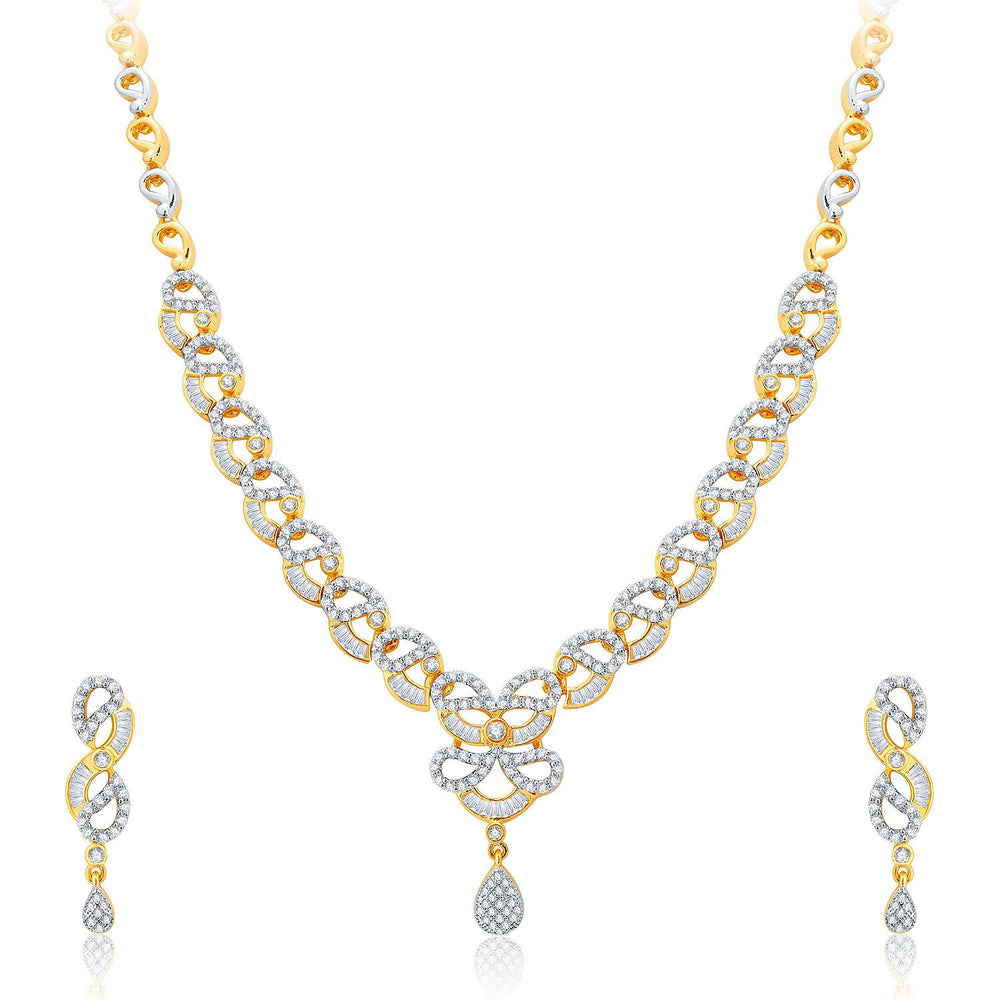 Pissara Exhilarating Gold And Rhodium Plated CZ Neklace Set For Women