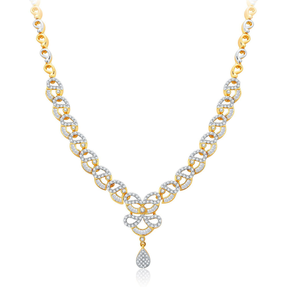 Pissara Exhilarating Gold And Rhodium Plated CZ Neklace Set For Women-1