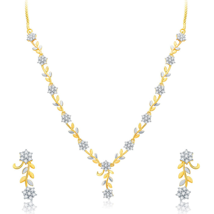 Pissara Pleasant Gold And Rhodium Plated CZ Neklace Set For Women