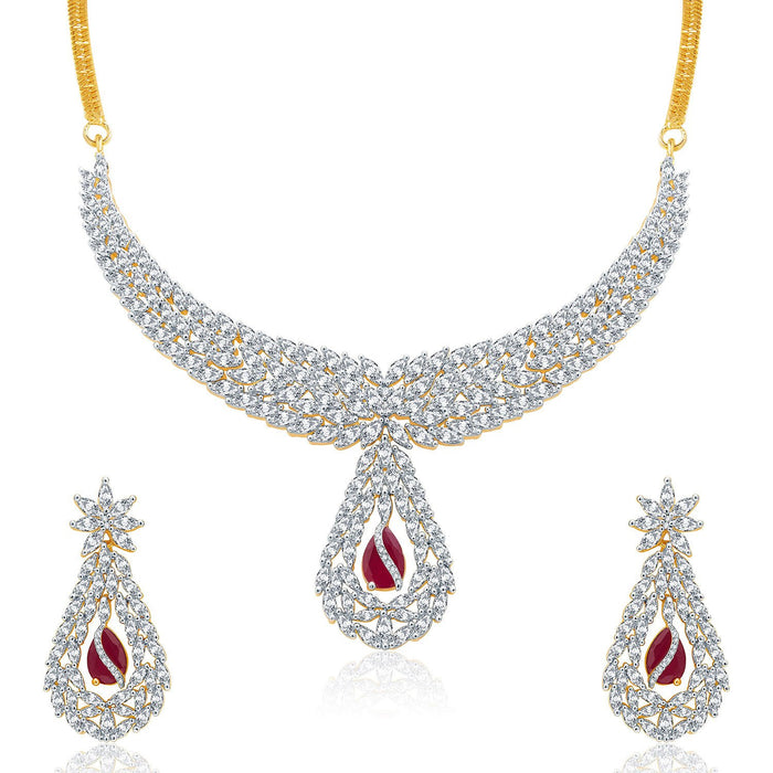 Pissara Lavish Gold And Rhodium Plated Ruby CZ Neklace Set For Women