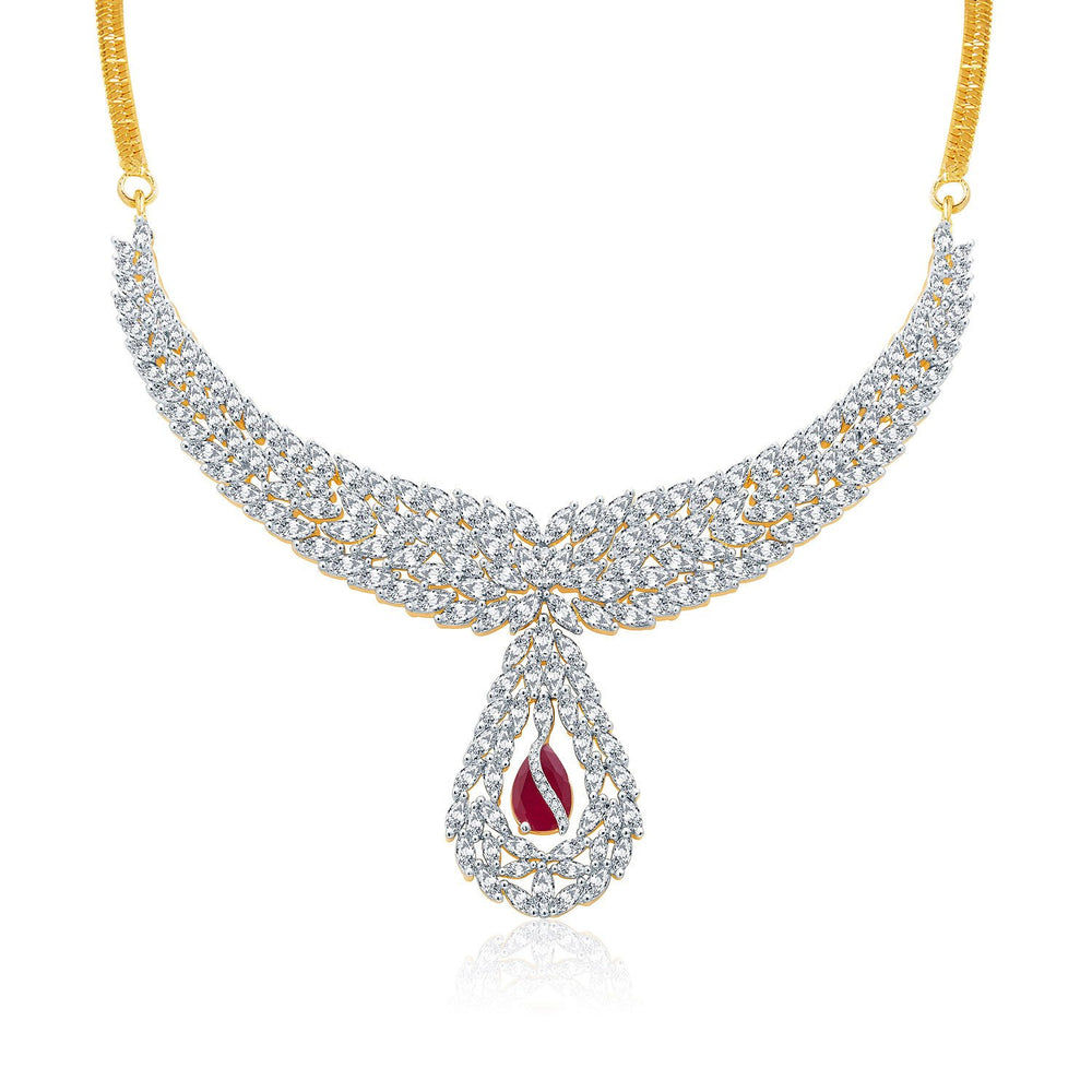 Pissara Lavish Gold And Rhodium Plated Ruby CZ Neklace Set For Women-1