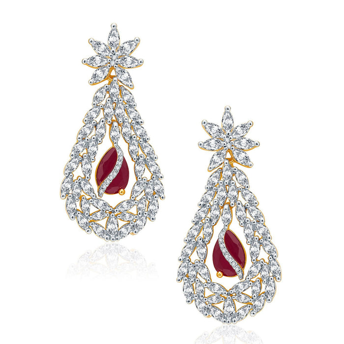 Pissara Lavish Gold And Rhodium Plated Ruby CZ Neklace Set For Women-2