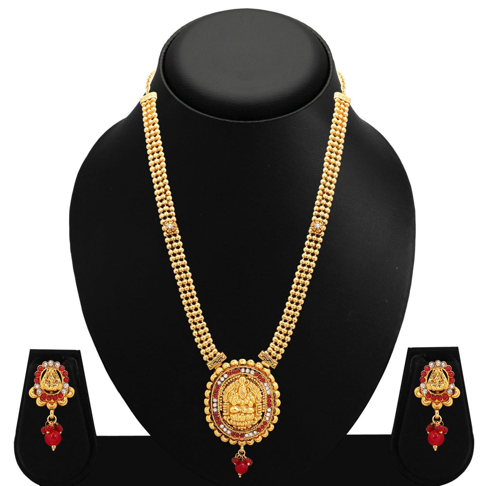 Sukkhi Bewitching Gold Plated AD Temple Necklace Set For Women