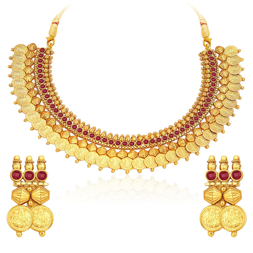 Sukkhi Glistening Laxmi Temple Coin Gold Plated Set of 3 Necklace Set Combo For Women-5