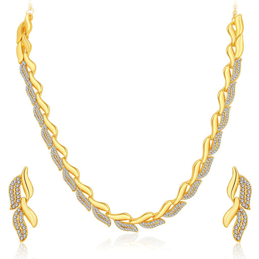 Sukkhi Graceful Gold Plated AD Necklace Set For Women-1