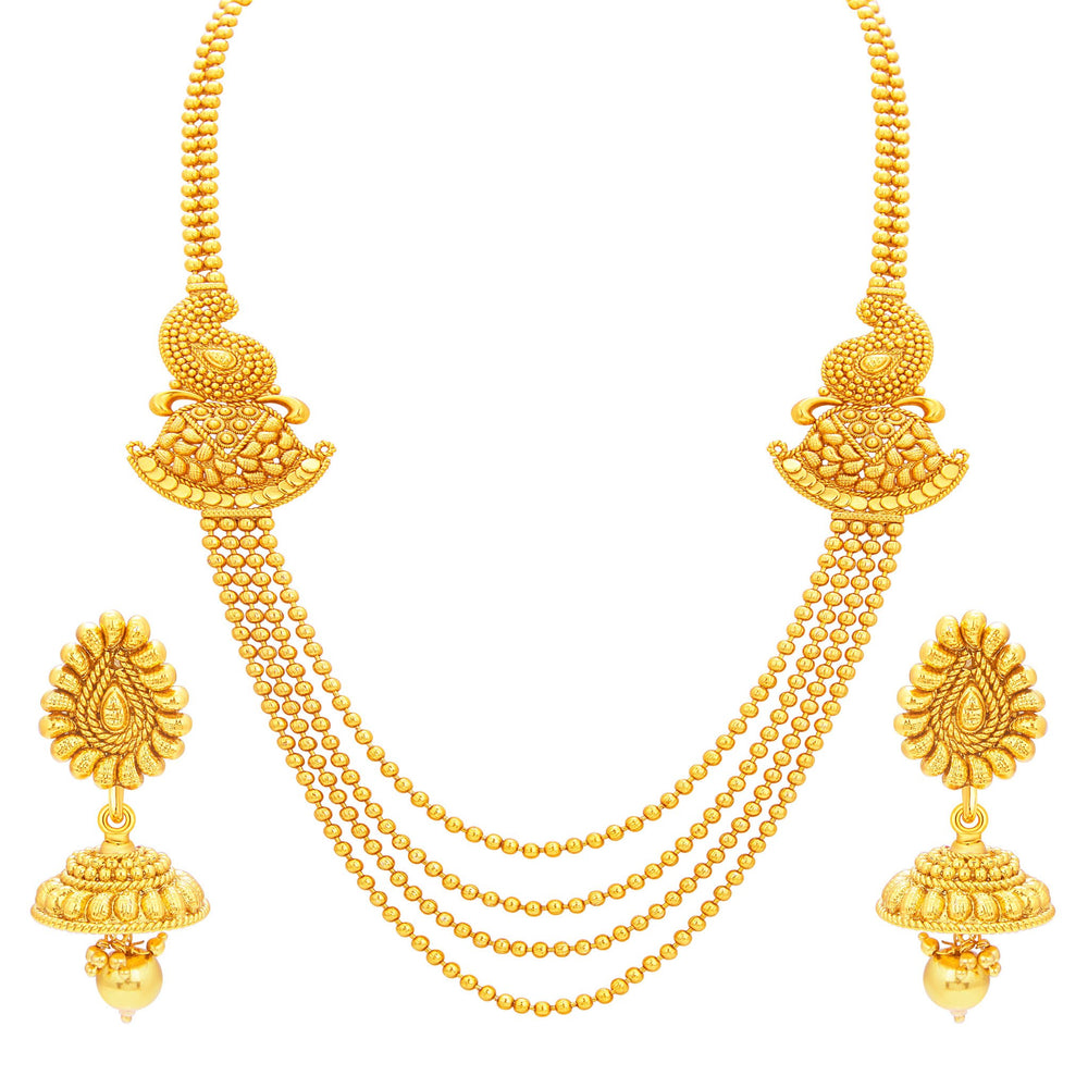 Sukkhi Astonish Four String Gold Plated Necklace Set For Women