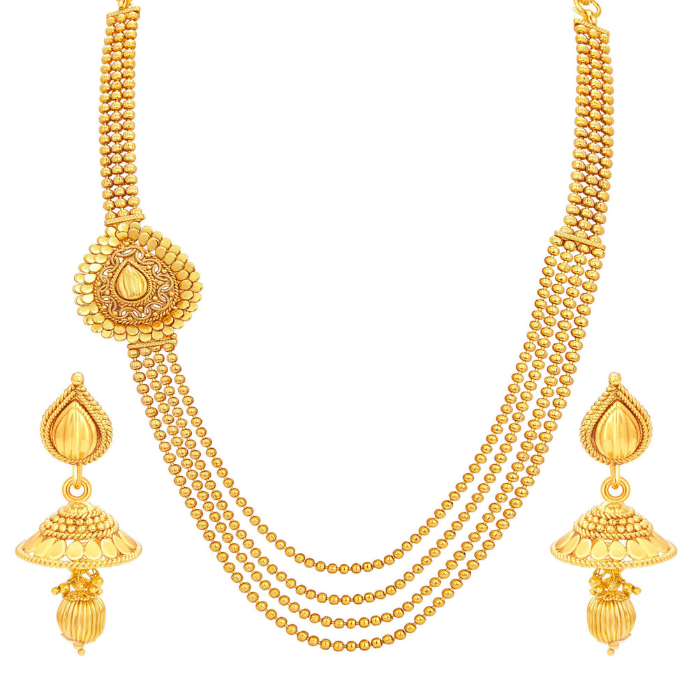 Sukkhi Amazing Four String Gold Plated Necklace Set For Women