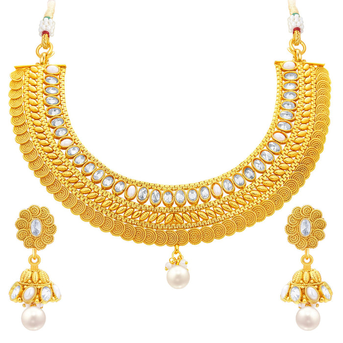 Sukkhi Exotic Jalebi Gold Plated American Diamond Necklace Set For Women