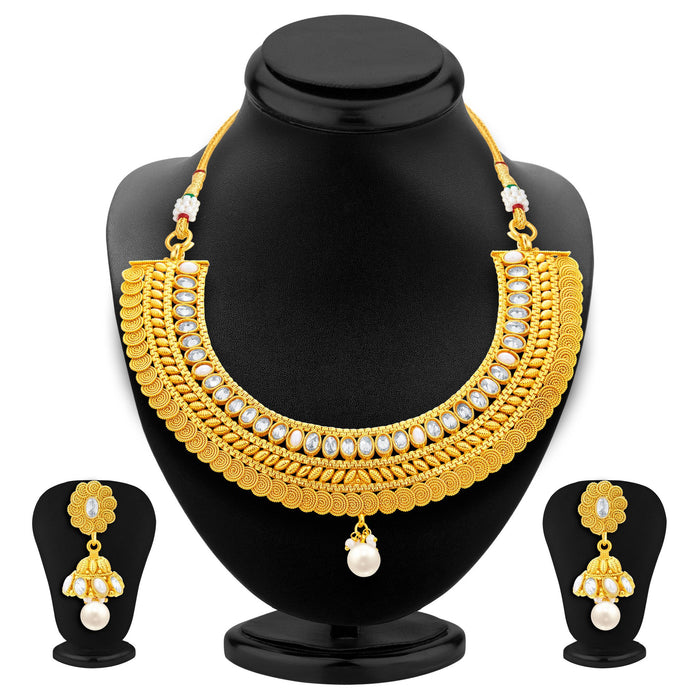 Sukkhi Exotic Jalebi Gold Plated American Diamond Necklace Set For Women-1