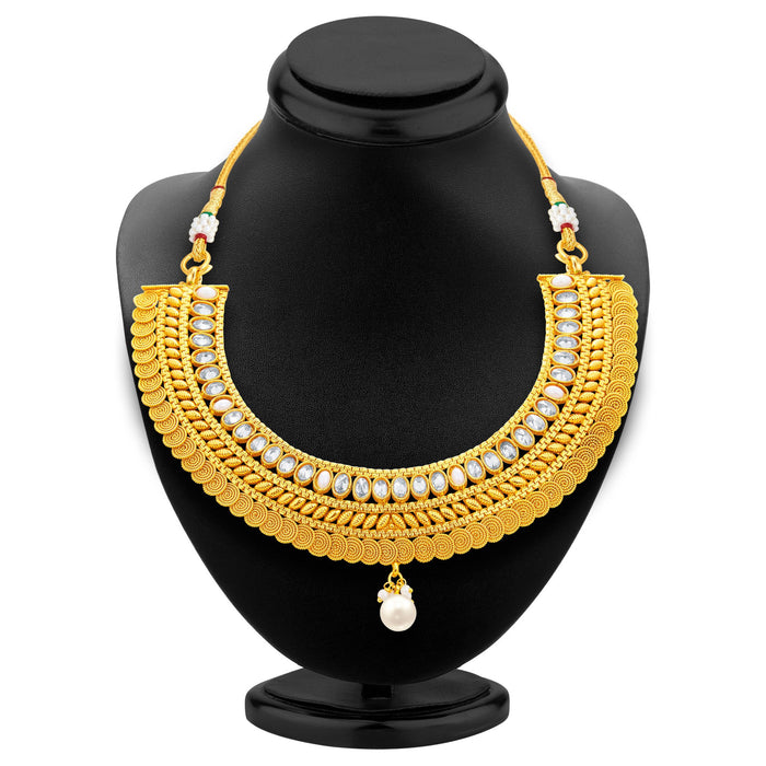 Sukkhi Exotic Jalebi Gold Plated American Diamond Necklace Set For Women-3