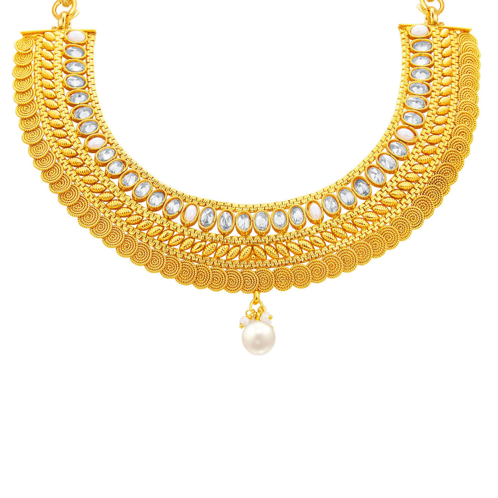 Sukkhi Exotic Jalebi Gold Plated American Diamond Necklace Set For Women-2