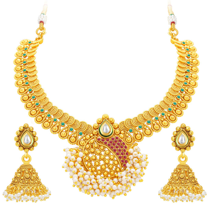 Sukkhi Excellent Jalebi Gold Plated Necklace Set For Women