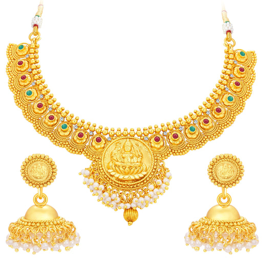 Sukkhi Cluster Laxmi Coin Temple Gold Plated Necklace Set For Women