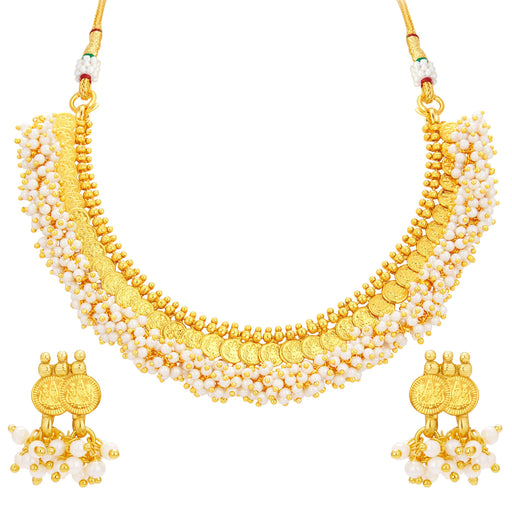 Sukkhi Intricately Crafted Laxmi Coin Temple Gold Plated Necklace Set For Women