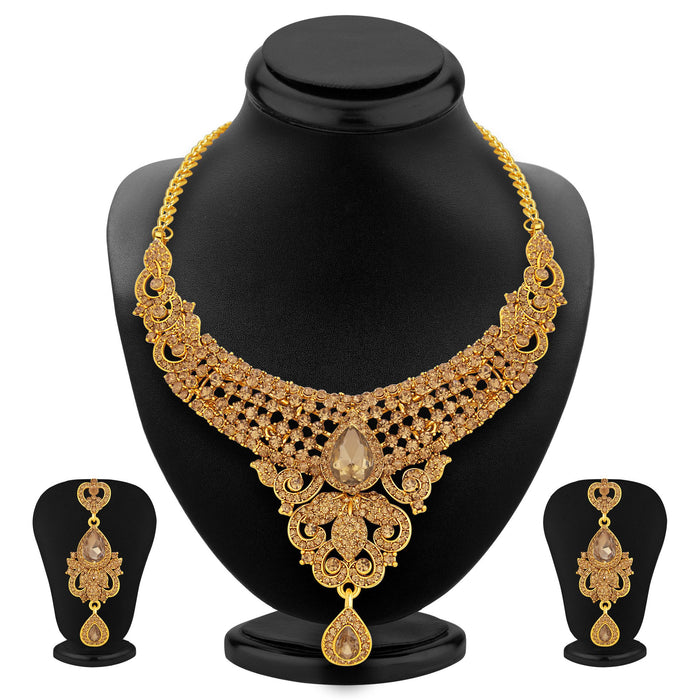 Sukkhi Bewitching LCT Stone Gold Plated AD Necklace Set For Women