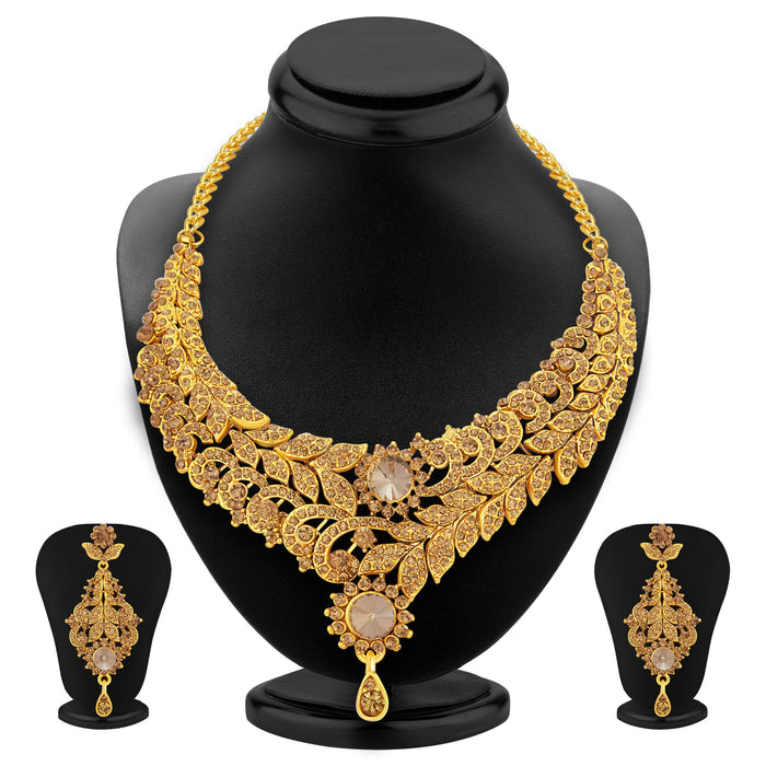 Sukkhi Enchanting LCT Stone Gold Plated AD Necklace Set For Women