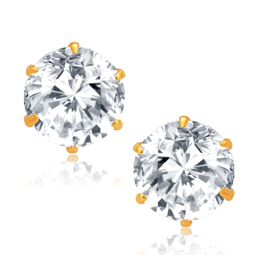 Pissara Glittery Gold and Rhodium Plated CZ Earrings For Women
