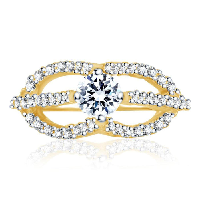 Pissara Pleasing Gold and Rhodium Plated Cubic Zirconia Stone Studded Solitaire Ring-1