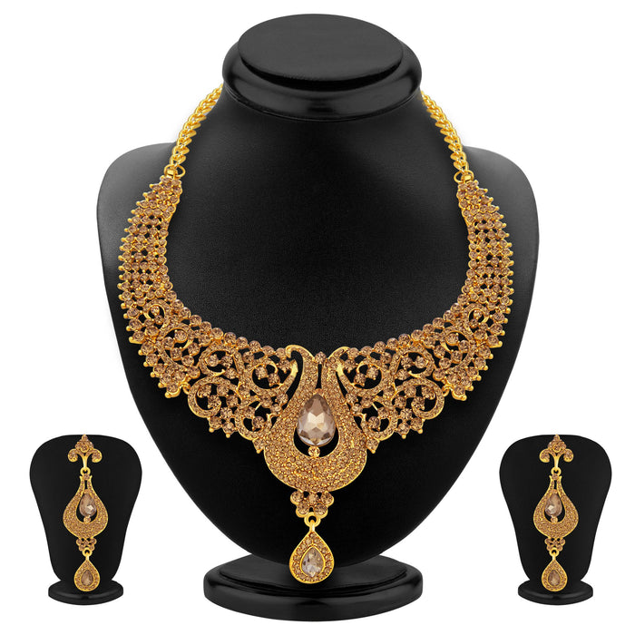 Sukkhi Beguiling LCT Stone Gold Plated AD Necklace Set For Women