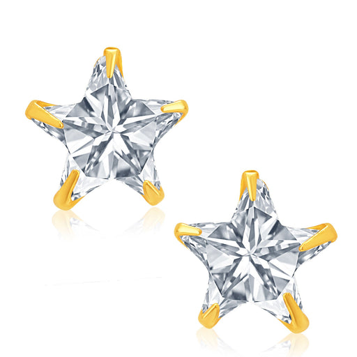 Pissara Creative Gold and Rhodium Plated CZ Earrings For Women