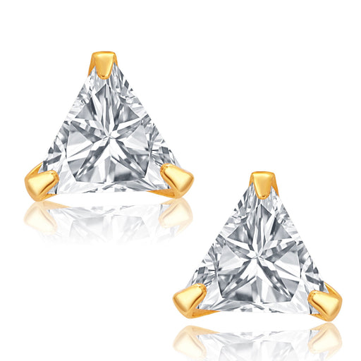 Pissara Classic Gold and Rhodium Plated CZ Earrings For Women
