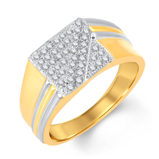 Pissara Beguiling Gold and Rhodium Plated Cubic Zirconia Ring For Men