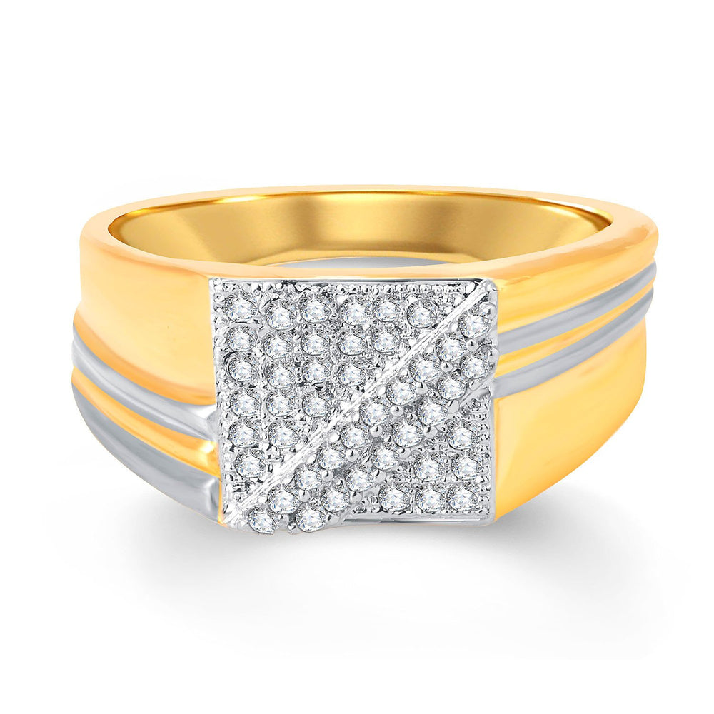 Pissara Beguiling Gold and Rhodium Plated Cubic Zirconia Ring Men-1
