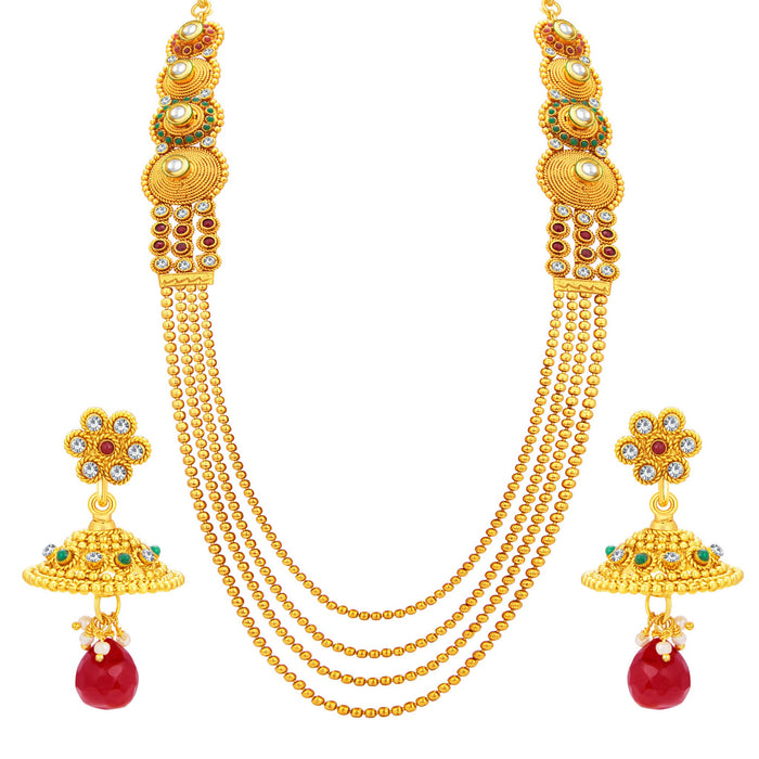 Sukkhi Exotic Four String Gold Plated Necklace Set For Women