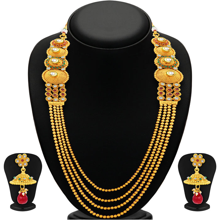 Sukkhi Exotic Four String Gold Plated Necklace Set For Women-1