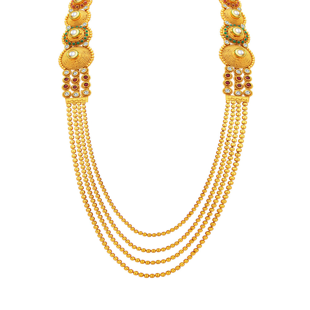 Sukkhi Exotic Four String Gold Plated Necklace Set For Women-2