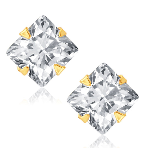Pissara Fabulous Gold and Rhodium Plated CZ Earrings For Women
