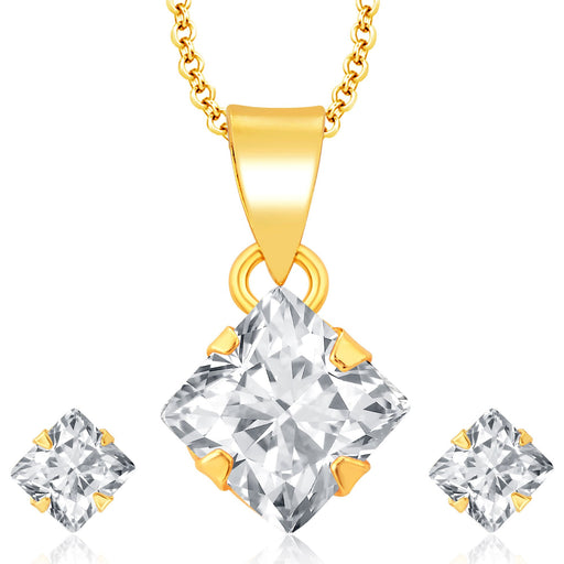 Pissara Sublime Gold Plated CZ Pendant Set For Women