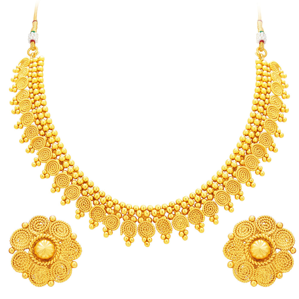 Sukkhi Alluring Jalebi Gold Plated Necklace Set For Women