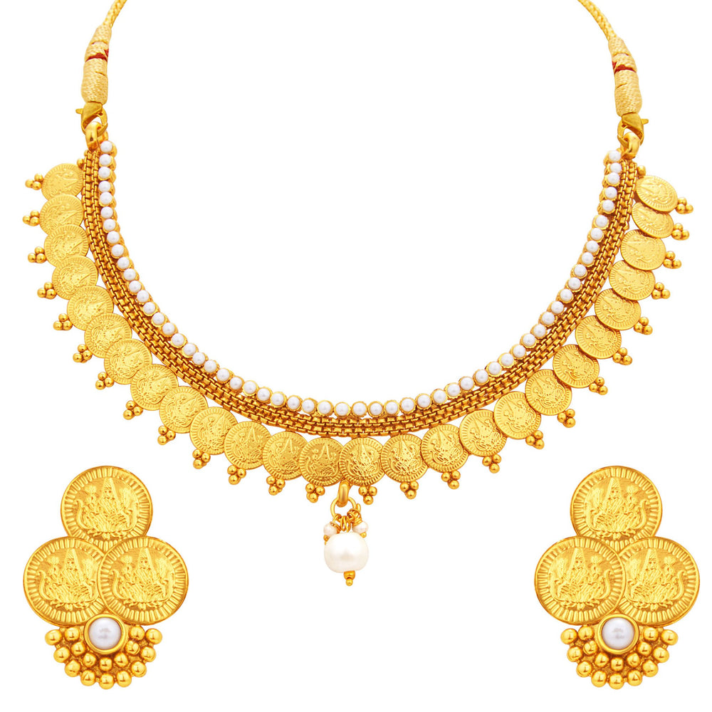 Sukkhi Delightful Laxmi Temple Coin Gold Plated Necklace Set For Women