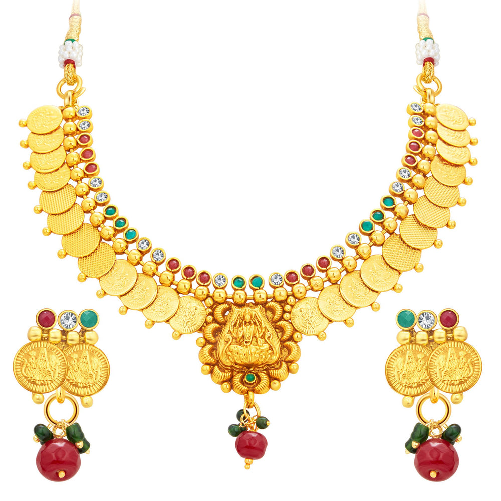 Sukkhi Blossomy Laxmi Temple Coin Gold Plated Necklace Set For Women