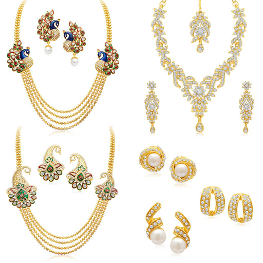Sukkhi Royal Peacock Gold Plated AD Combo For Women