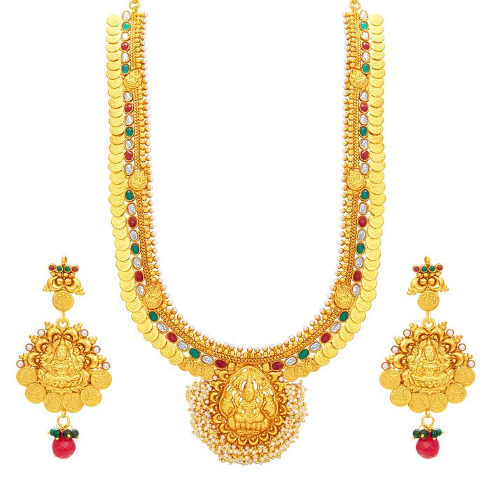 Sukkhi Artistically Laxmi Temple Coin Gold Plated Necklace Set For Women