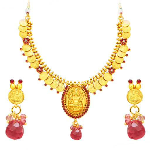 Sukkhi Appealing Laxmi Temple Coin Gold Plated Necklace Set For Women