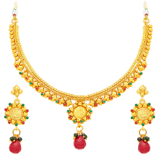 Sukkhi Lavish Laxmi Temple Coin Gold Plated Necklace Set For Women