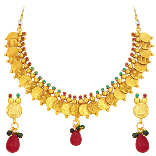 Sukkhi Intricately Crafted Laxmi Temple Coin Gold Plated Necklace Set For Women