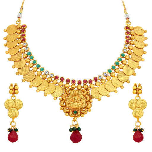 Sukkhi Glimmery Laxmi Temple Coin Gold Plated Necklace Set For Women