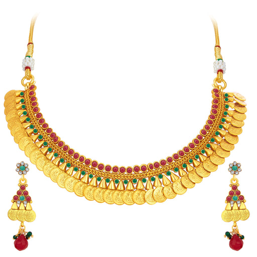 Sukkhi Glorious Laxmi Temple Coin Gold Plated Necklace Set For Women