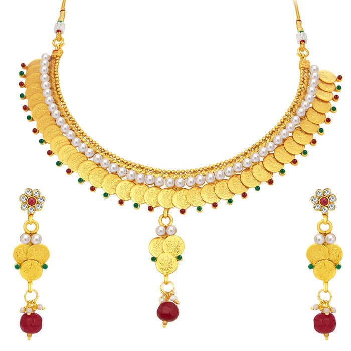 Sukkhi Enchanting Laxmi Temple Coin Gold Plated Necklace Set For Women