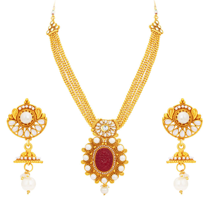 Sukkhi Excellent Invisible Setting Gold Plated Necklace Set For Women