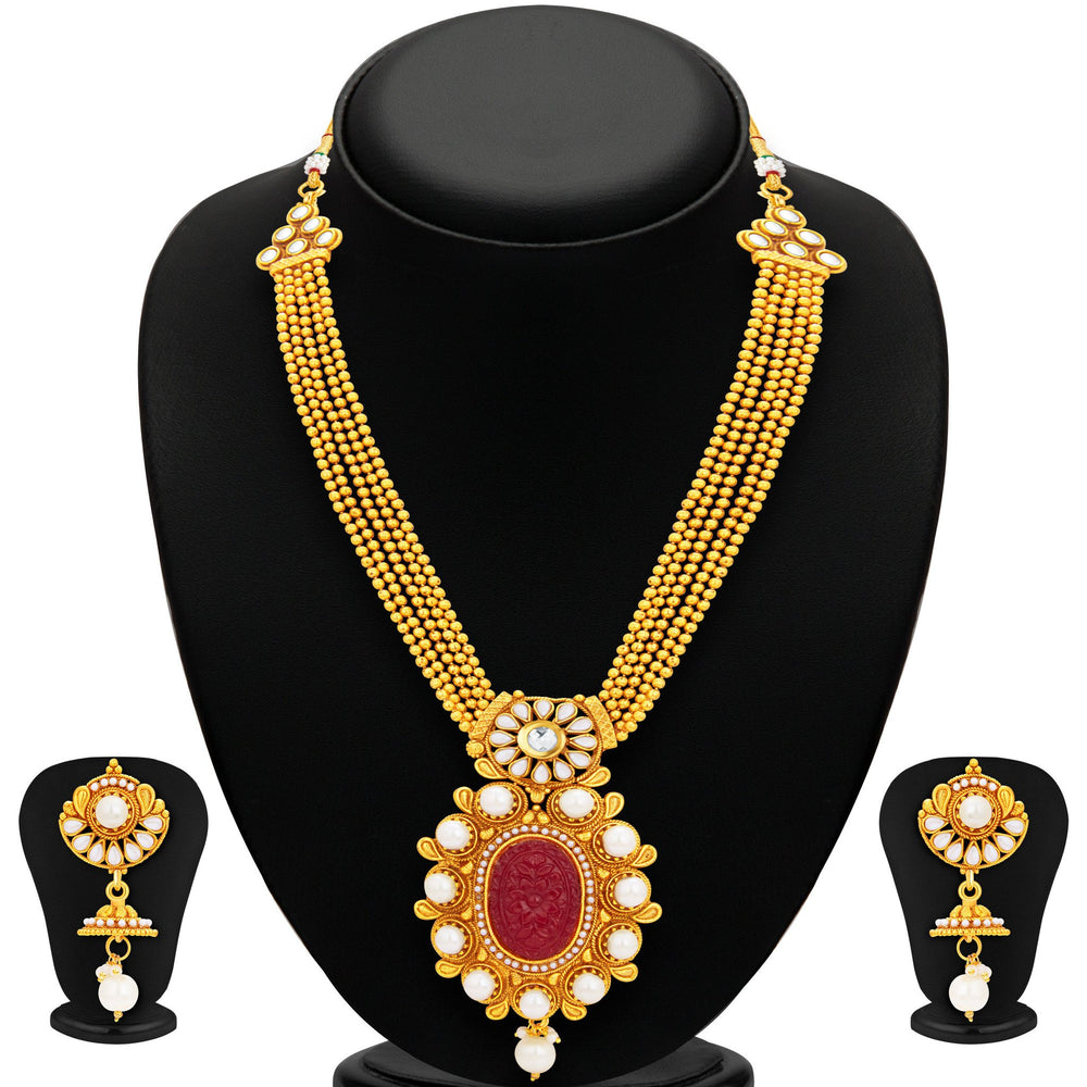 Sukkhi Excellent Invisible Setting Gold Plated Necklace Set For Women-1