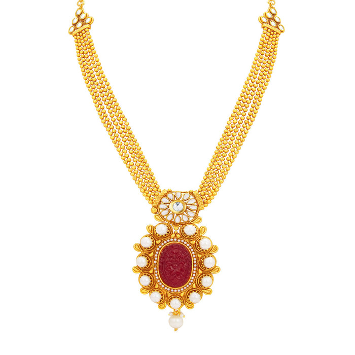 Sukkhi Excellent Invisible Setting Gold Plated Necklace Set For Women-2