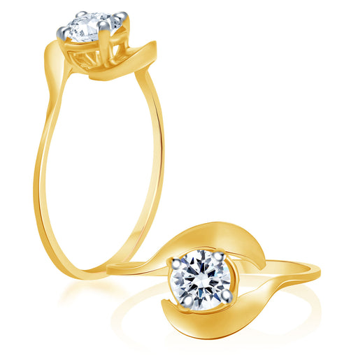 Sukkhi Fascinating Gold And Rhodium Plated Cubic Zirconia Stone Studded Solitaire Ring