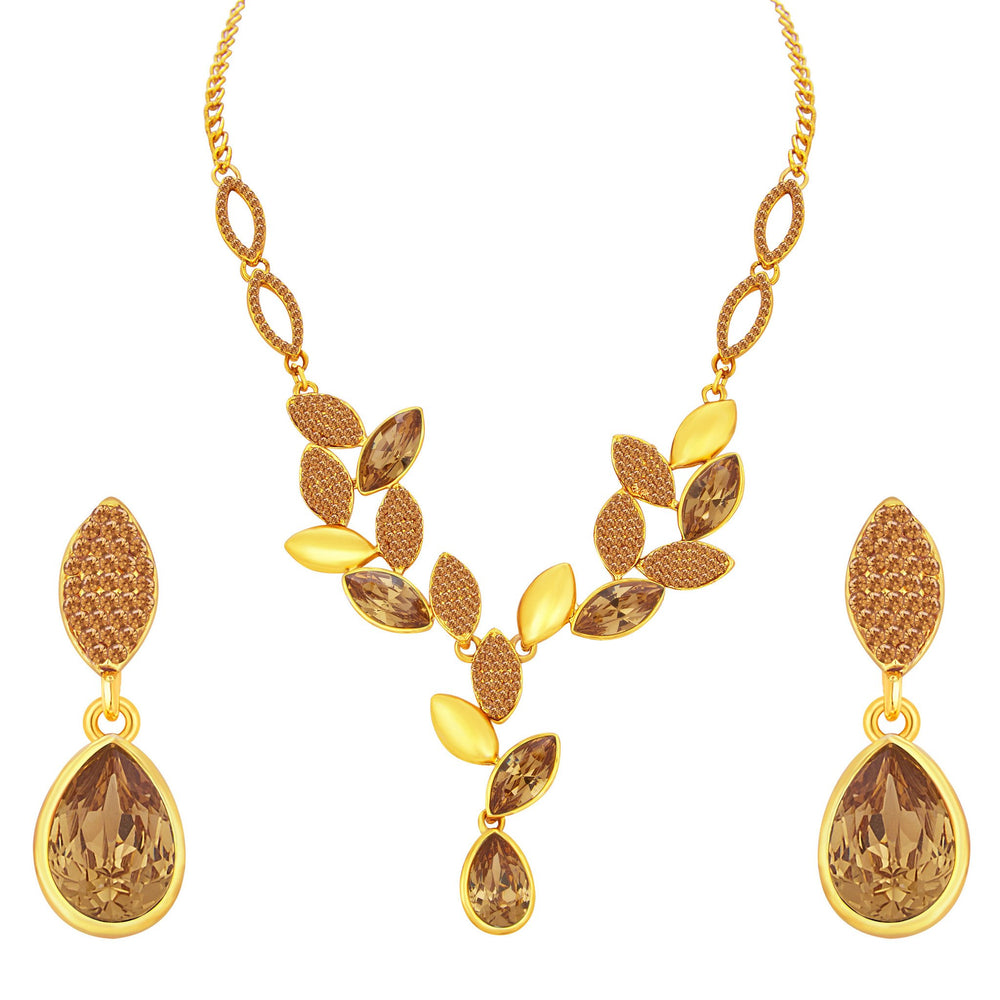 Sukkhi Astonish Leaf Design LCT Stone Gold Plated AD Necklace Set For Women