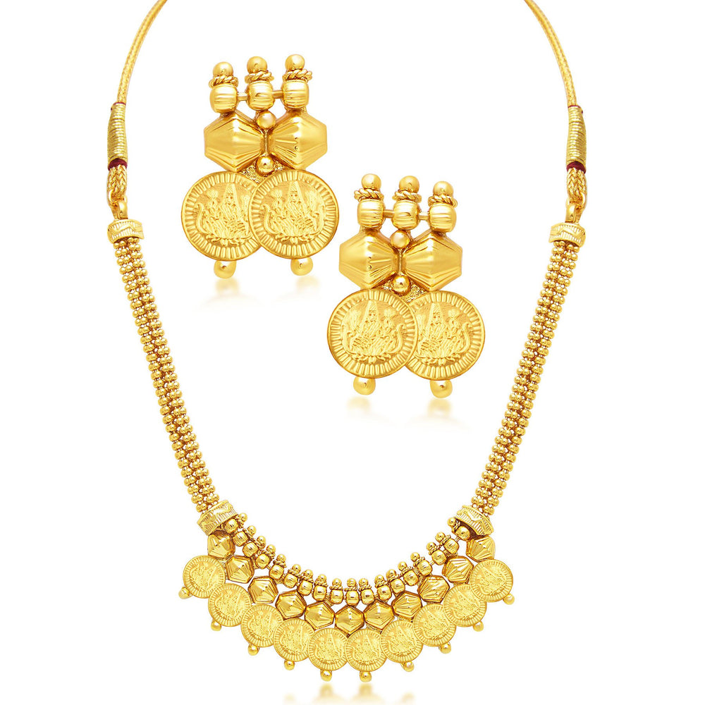 Sukkhi Exquitely Laxmi Coin Temple Gold Plated Set of 3 Necklace Set Combo For Women-1